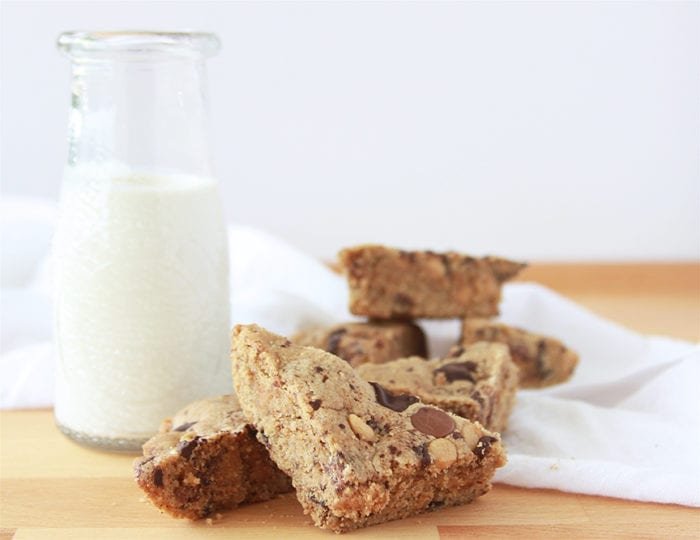 Chocolate Chunk & Almond Butter Blondies a healthier way to satisfy that sweet tooth! www.cookingwithruthie.com