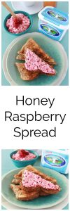 Honey Raspberry Spread is a flavorful healthier way to top toasts, crepes, pancakes, and more! www.cookingwithruthie.com