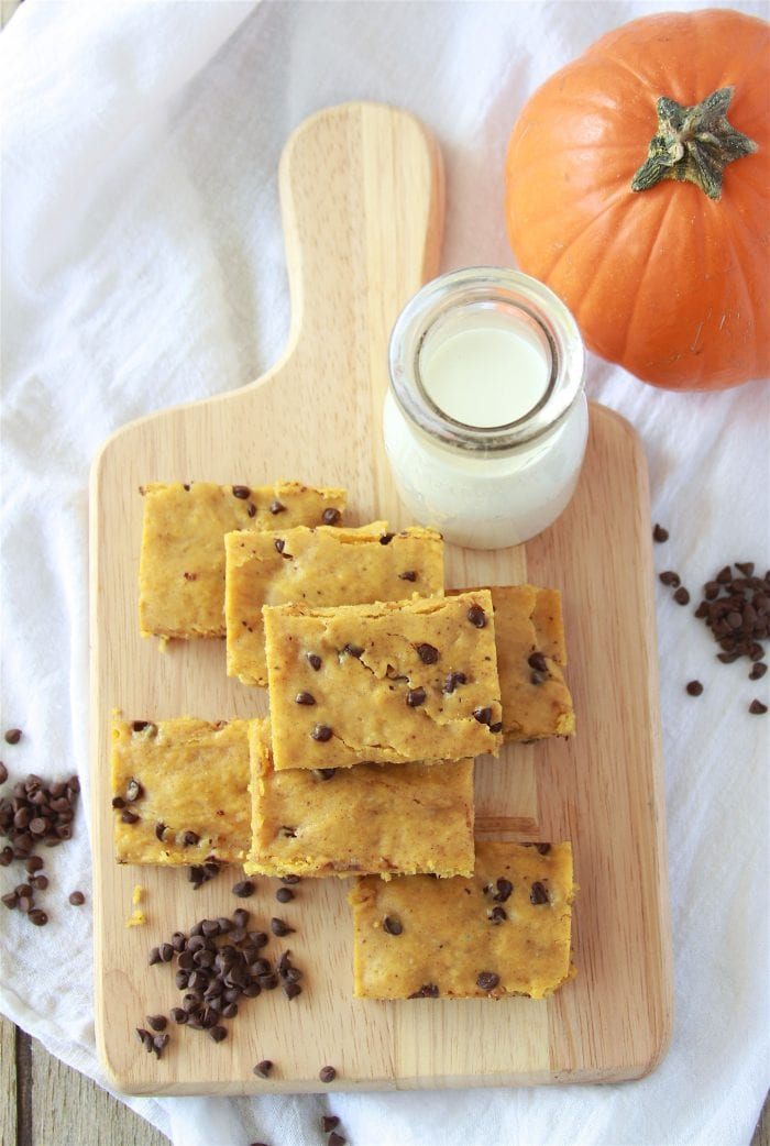 Sourdough Pumpkin Chocolate Chip Bars Recipe will be your favorite autumn dessert! by cookingwithruthie.com