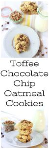Our Toffee Chocolate Chip Oatmeal Cookies Recipe are delicious, flavorful, & moist cookies!www.cookingwithruthie.com