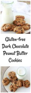 Gluten-free Dark Chocolate Peanut Butter Cookies Recipe are simply 5 ingredients, then into the oven for crisp, flaky, and perfect peanut butter cookies! www.cookingwithruthie.com