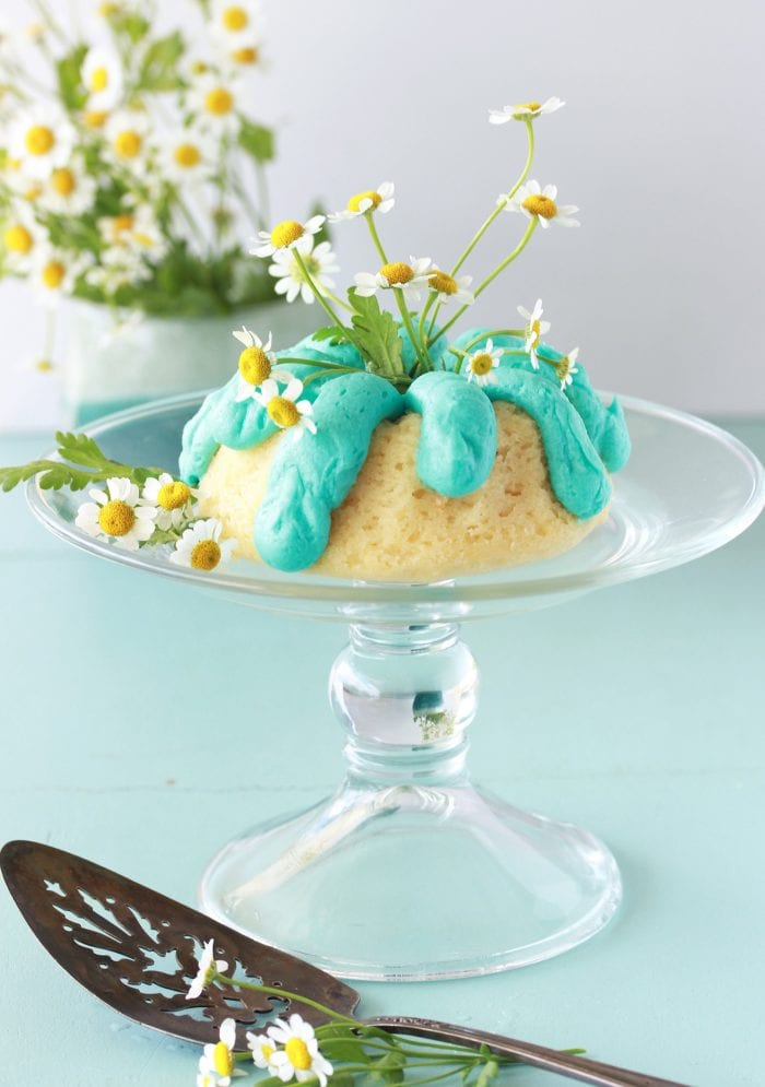 Tiffany Blue Mini Bundt Cake Recipe is the loveliest way to celebrate a special occasion! by cookingwithruthie.com