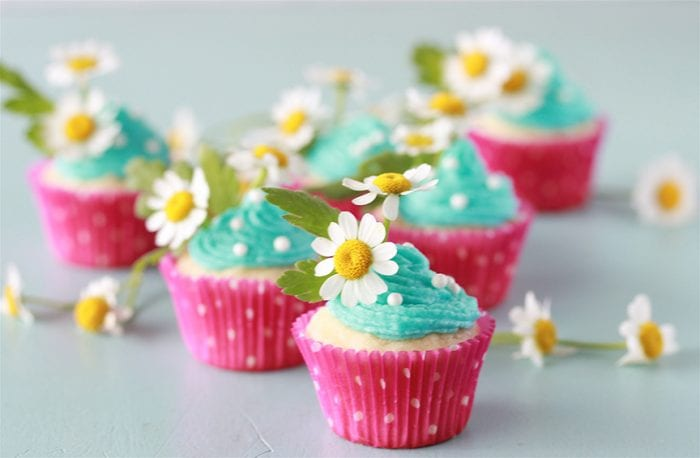 Tiffany Blue Mini Cupcakes Recipe are a two bite sweet treat that are too adorable to pass up! by cookingwithruthie.com