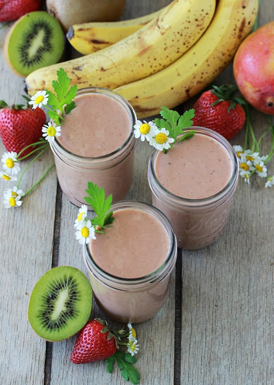 Our Tropical Chocolate Protein Smoothie Recipe is a nutritious and filling way to start off your day! by cookingwithruthie.com