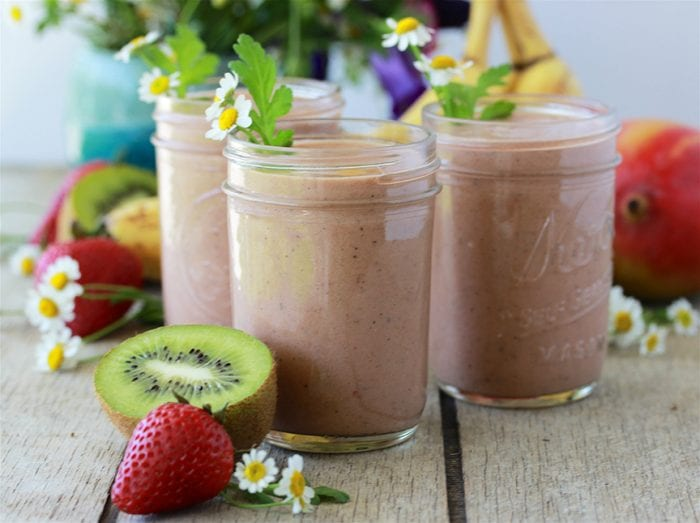Tropical Chocolate Protein Smoothie is a nutritious and filling way to start off your day! by cookingwithruthie.com