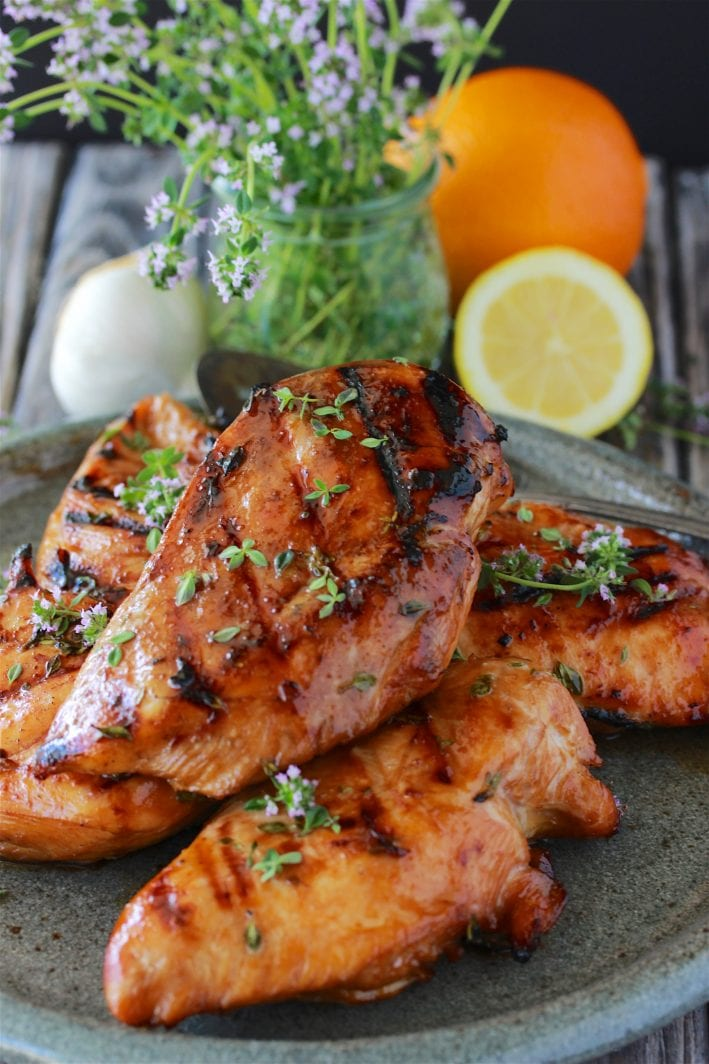 Citrus Thyme Grilled Chicken Recipe is a deliciously simple summer grilling recipe! by cookingwithruthie.com