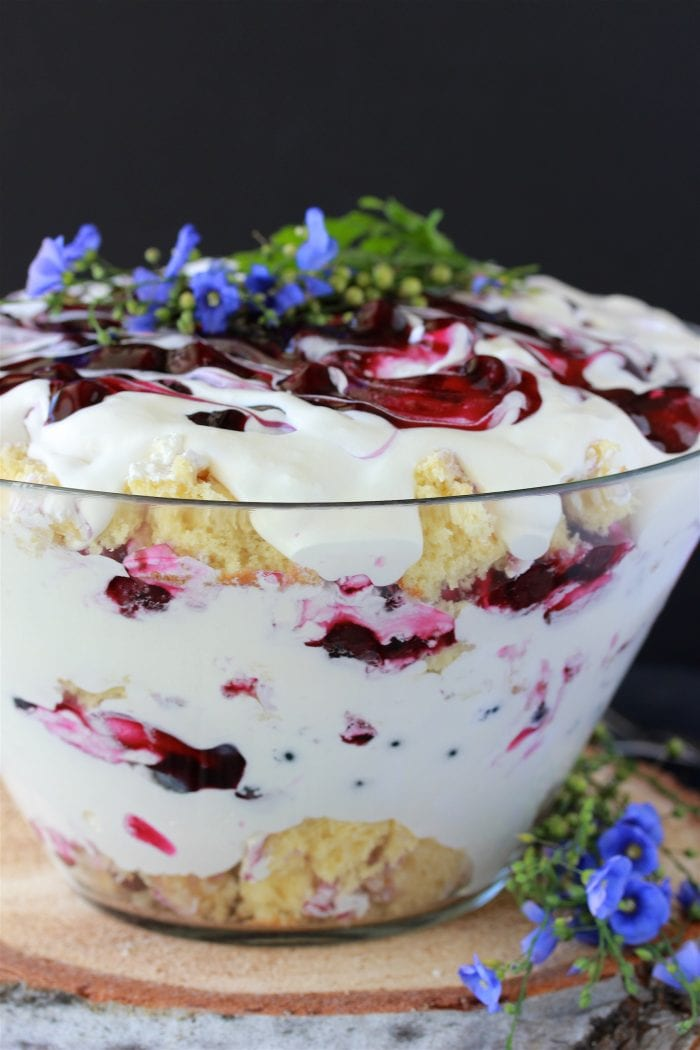 Our Homemade Blueberry Trifle Recipe is the perfect dessert recipe to feed a crowd--it'll be sure to make you the star of the party! by cookingwithruthie.com