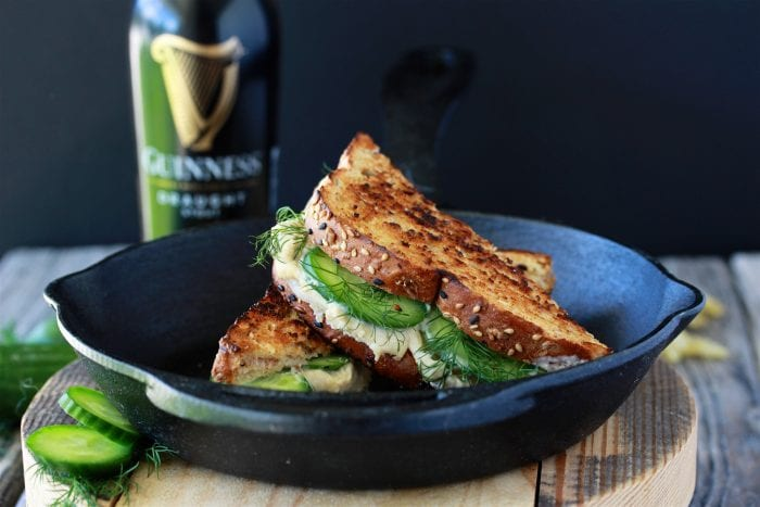 Cucumber Dill Hummus Grilled Cheese Recipe will surprise and delight you with every bite! by cookingwithruthie.com
