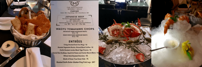 Mastro's Penthouse Menu and appetizers in Beverly Hills, California