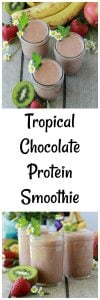 Tropical Chocolate Protein Smoothie Recipe is a nutritious and filling way to start off your day! www.cookingwithruthie.com