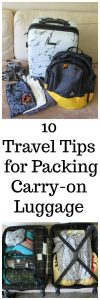 10 Travel Tips for Packing Carry-on Luggage to make all your travels that much more enjoyable! www.cookingwithruthie.com