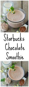 Starbucks Chocolate Smoothie Recipe is simple to make at home and every bit as good as the original! www.cookingwithruthie.com