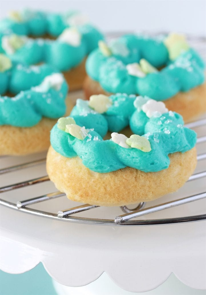 Tiffany Blue Baked Vanilla Donuts Recipe are beautiful for any occasion and just about the cutest lil' baked doughnuts I've ever seen! by cookingwithruthie.com