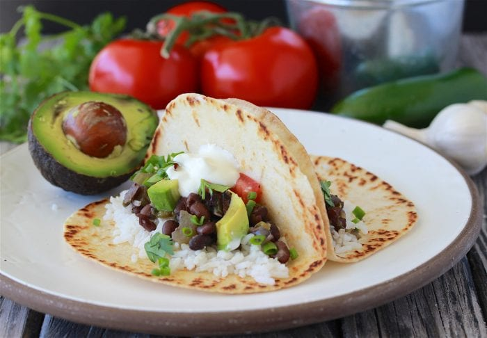 Black Beans and Cilantro Rice Taco Recipe is a flavorful Tex-Mex Dinner! by cookingwithruthie.com