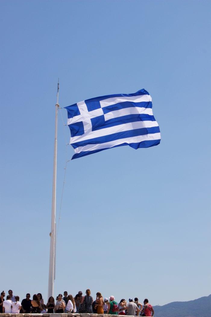 Greek Flag at the Parthenon, Athens, Greece
