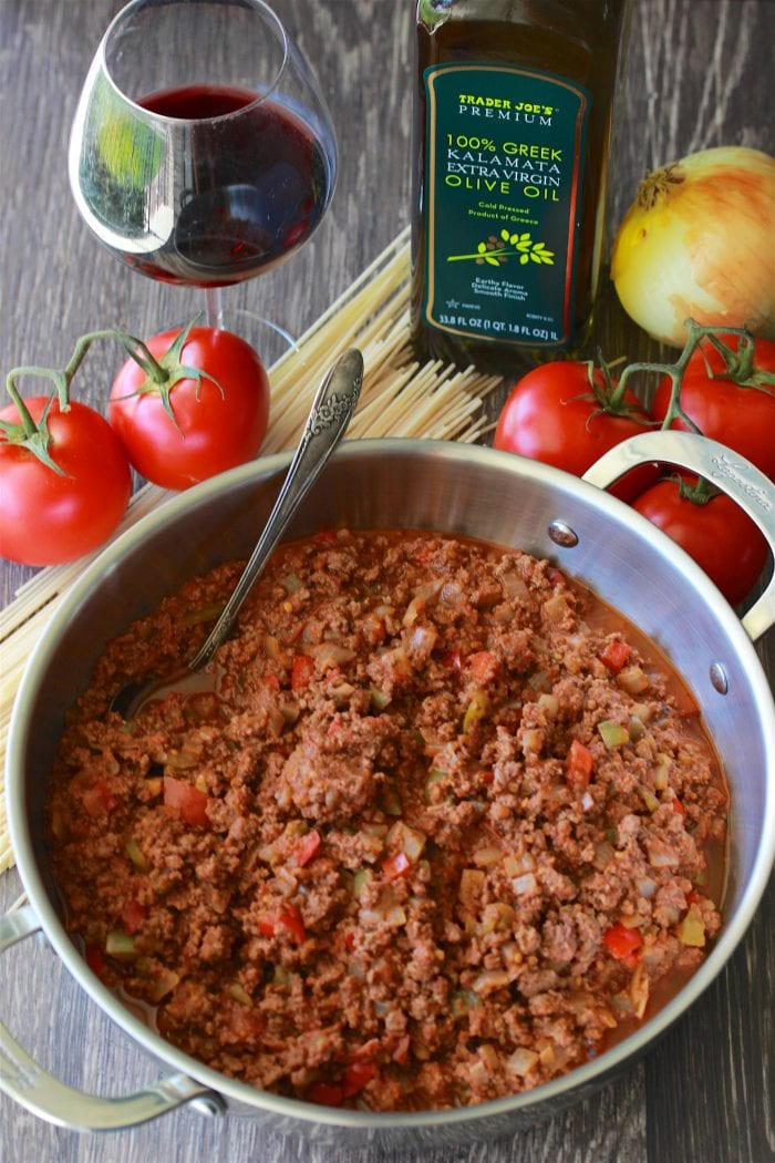 Mediterranean Meat Sauce & Pasta Recipe is a traditional red sauce made from scratch using fresh tomatoes!! by cookingwithruthie.com