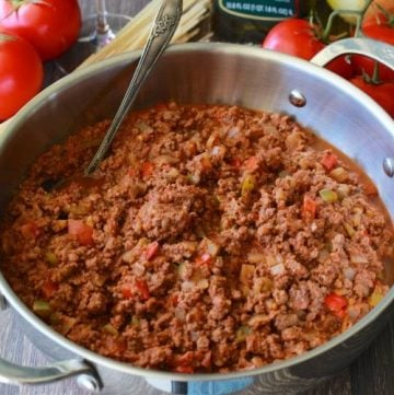 Mediterranean Meat Sauce & Pasta Recipe is a traditional red sauce made from scratch using fresh tomatoes! by cookingwithruthie.com