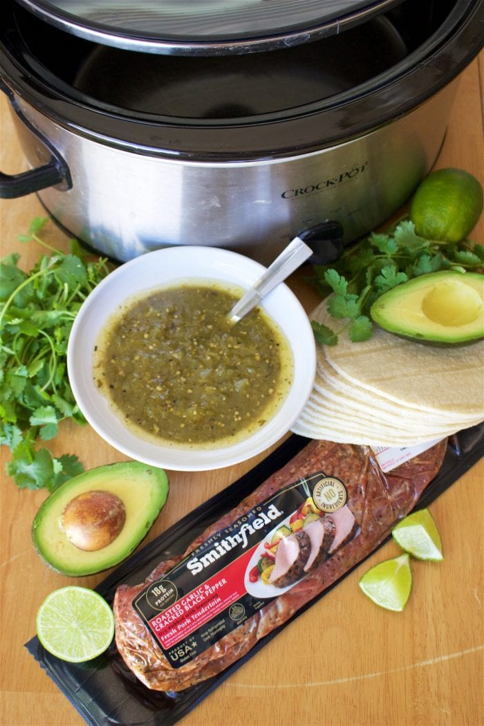 Tomatillo Pulled Pork Taco Recipe are tex-mex heaven in with 6 ingredients and slow cooker! by cookingwithruthie.com