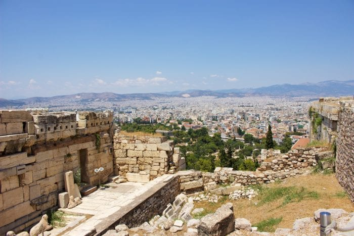The view from the top of Acropolis in Athens, Greece
