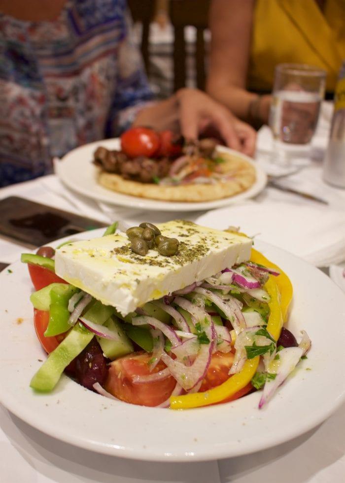 Horiatiki Salata, Greek Village Salad served at restaurant