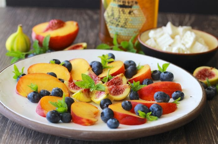 Fruit Plate with Feta and Honey & Delisi, Greece is delightful appetizer and a look at a Greek village produce stand! by cookingwithruthie.com