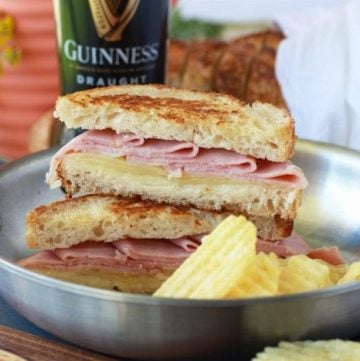 Ham and Swiss Grilled Cheese with Zesty Mayo Recipe turns a classic into grilled cheese magic! by cookingwithruthie.com