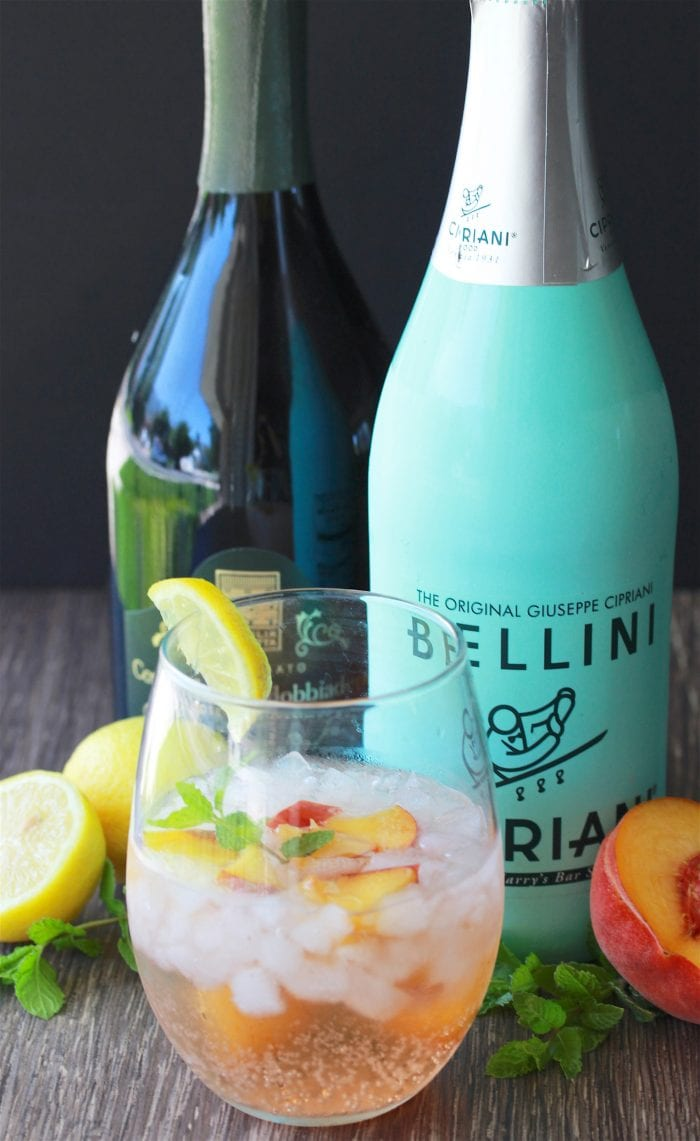Lemon Peach Bellini Cocktail Recipe is the perfect way to celebrate the turning of the seasons! by cookingwithruthie.com