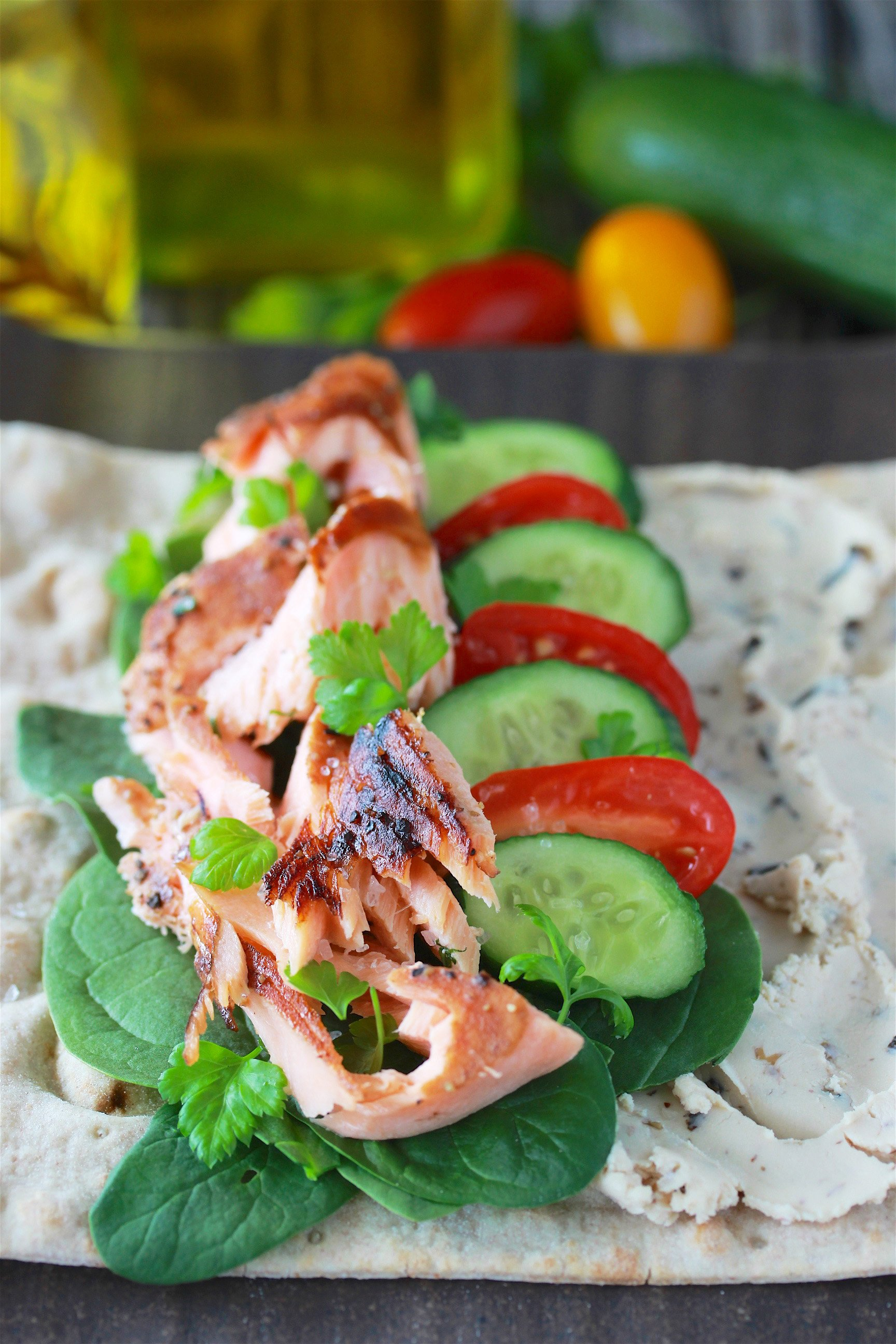 Salmon Cream Cheese Lavash Wrap Recipe is a flavorful, healthy, and simple meal! by cookingwithruthie.com
