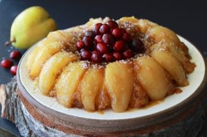 Pear Upside-Down Bundt Cake Recipe is a lovely way to celebrate the holidays this year! by cookingwithruthie.com
