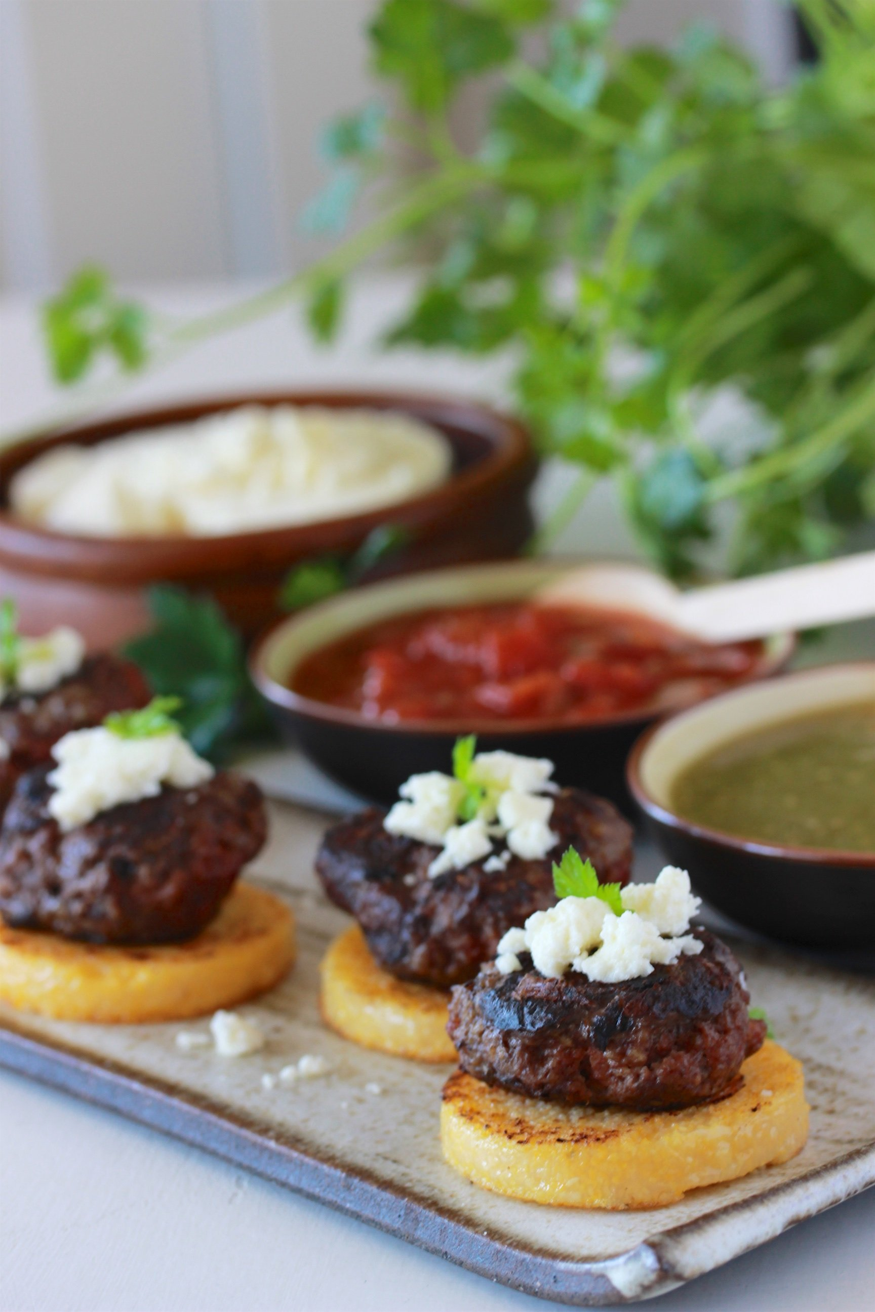 Southwest Beef & Polenta Rounds Recipe a savory appetizer for your next gathering!by cookingwithruthie.com
