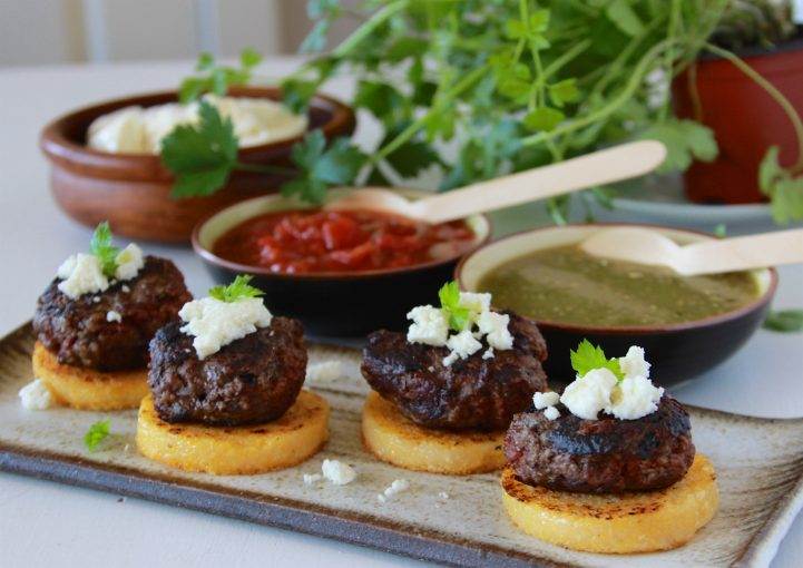 Southwest Beef & Polenta Rounds Recipe a savory appetizer for your next gathering! by cookingwithruthie.com