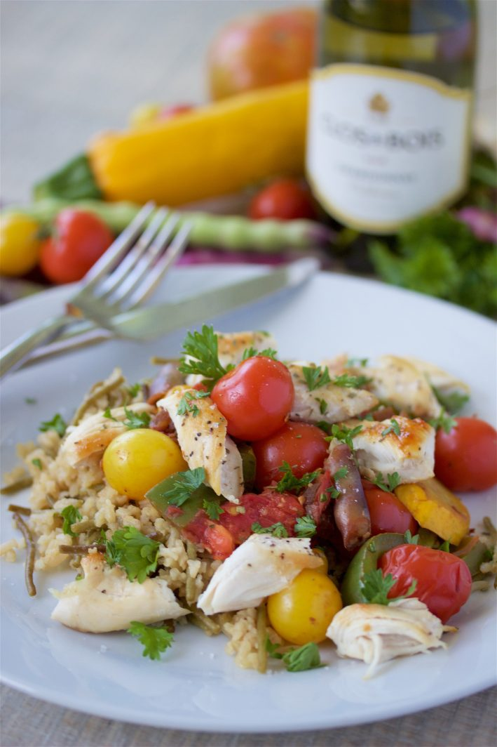 Chicken & Vegetable Sauté with Rice Pilaf Recipe is flavorful, colorful, and delicious! by cookingwithruthie.com