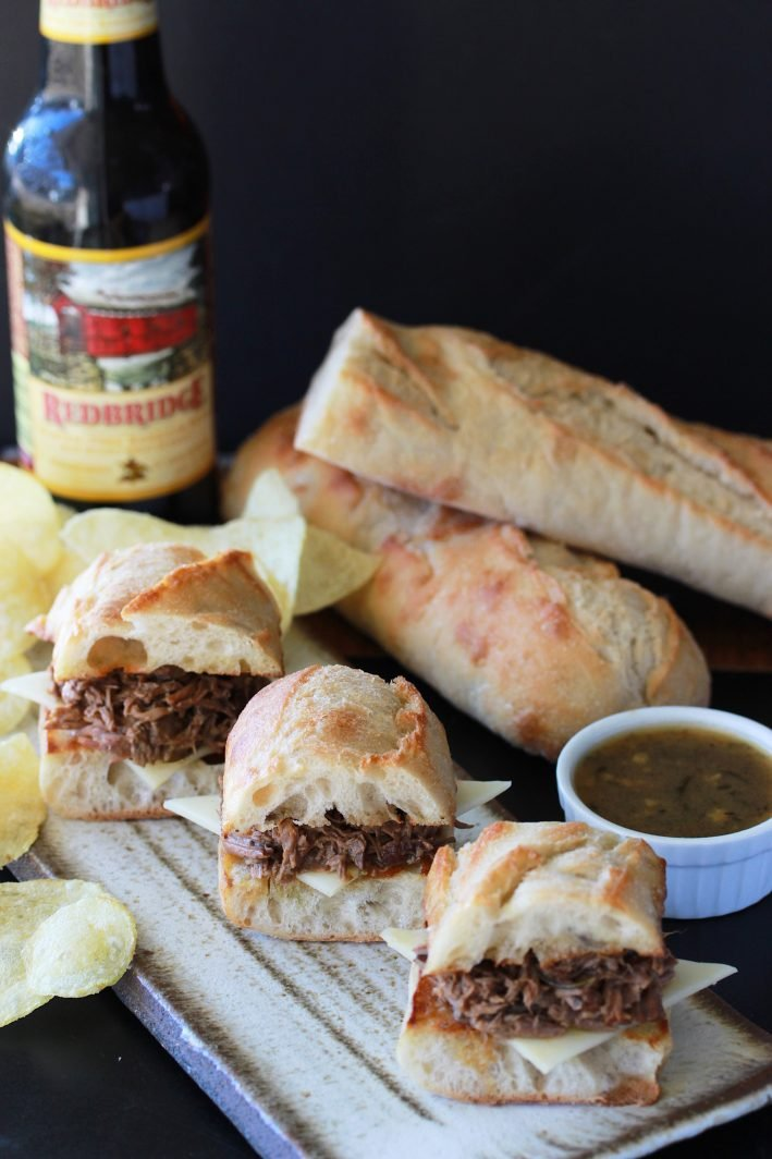 French Dip Sliders Recipe is a winning appetizer for this weekends super bowl party or any party! by cookingwithruthie.com