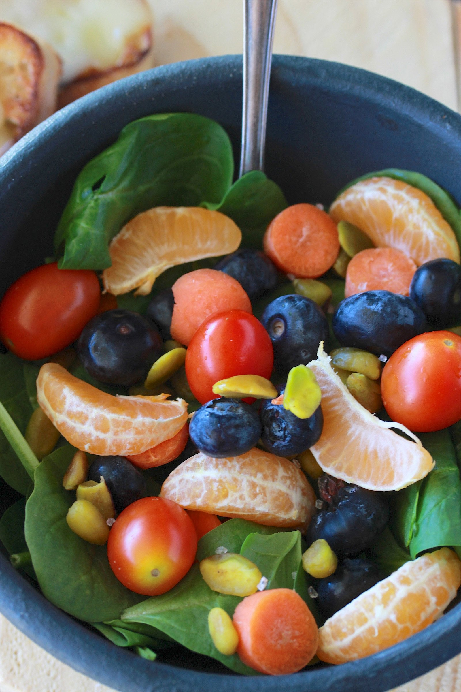 Power Spinach Salad Recipe will fuel your day with power nutrition! by cookingwithruthie.com