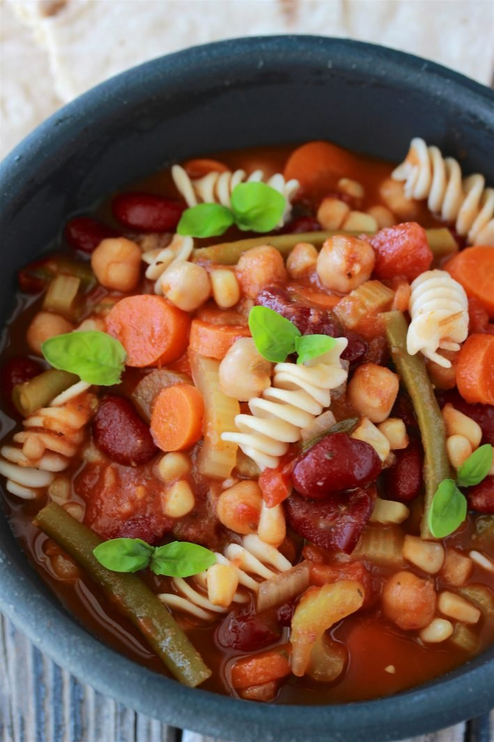 Hearty Minestrone Soup Recipe is flavorful, colorful, and perfect for wintertime! by cookingwithruthie.com