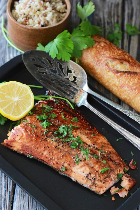 Our Balsamic Salmon Filet Recipe is simple to make plus it's rich in flavors with a wide array of nutritional benefits too! by cookingwithruthie.com