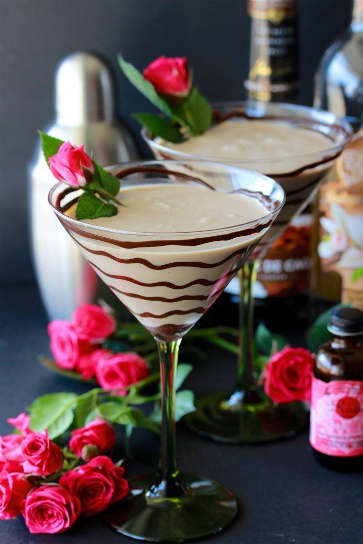 Chocolate Rose Martini Recipe is dessert cocktail for your love! by cookingwithruthie.com