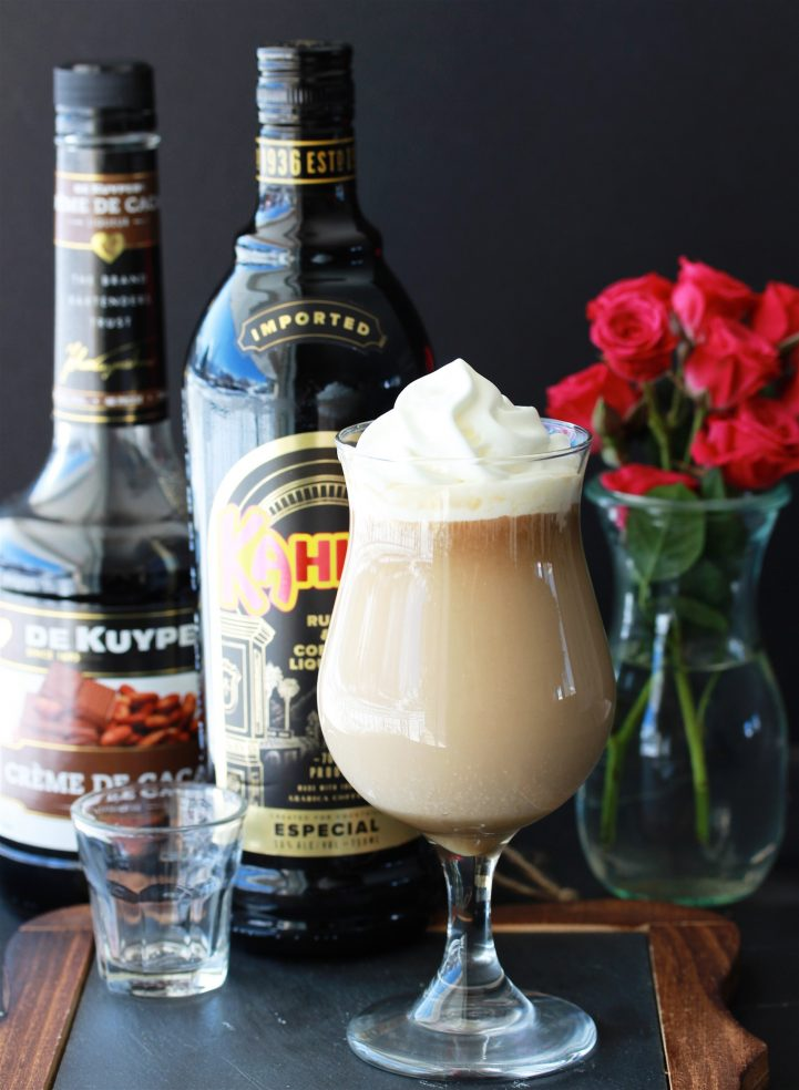 Irish Coffee With Kahlua & Creme De Cacao Recipe a fun twist on the classic Irish cocktail! by cookingwithruthie.com