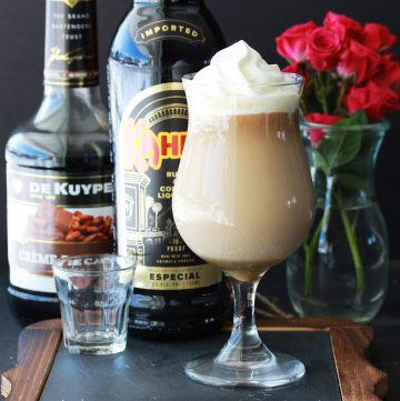 Irish Coffee With Kahlua & Creme De Cacao a fun twist on the classic Irish cocktail! by cookingwithruthie.com