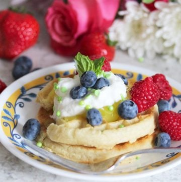 Spring Waffle Bar Recipe is a simply sweet breakfast or brunch for your family! by cookingwithruthie.com