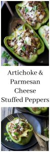 Artichoke & Parmesan Cheese Stuffed Peppers Recipe is the perfect St. Patricks Day dinner! by cookingwithruthie.com