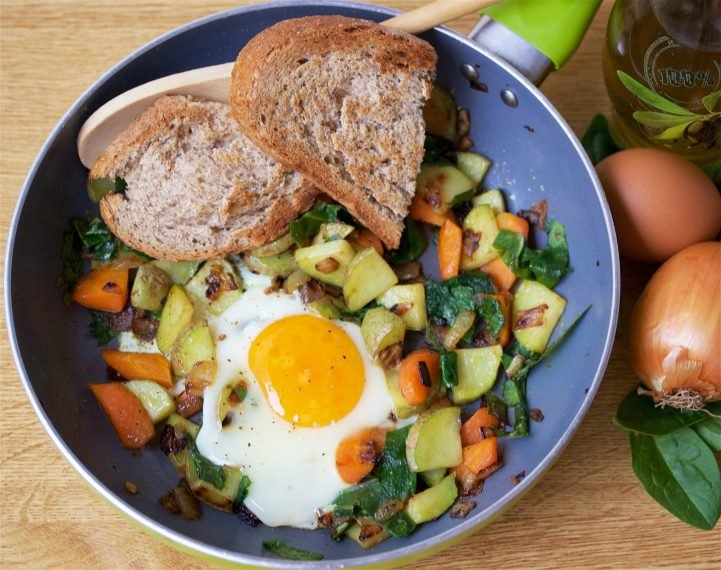 Egg & Root Vegetable Hash Recipe is a pantry friendly meal that's ready in 15 minutes or less! by cookingwithruthie.com