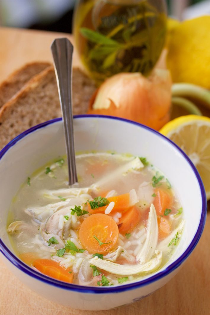 Lemon Chicken & Rice Soup Recipe + Pantry Staples is a healthy and nutritious recipe with chef tips to stock your pantry! by cookingwithruthie.com