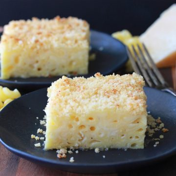 Cheesy Baked Mac & Cheese Recipe with a crispy panko topping is sure to bring smiles to everyone at your table! by cookingwithruthie.com