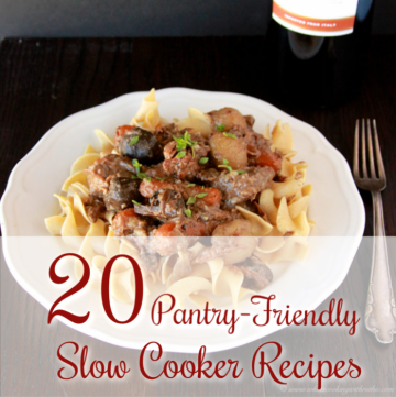 20 Pantry-Friendly Slow Cooker Recipes are simple to make with ingredients you already have on-hand! by cookingwithruthie.com