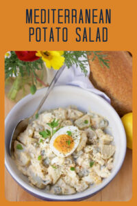 Mediterranean Potato Salad Recipe: a sure win for all your summer gatherings! Summer picnics and BBQs are just not the same without a good ole' potato salad. We hope you'll agree that our Mediterranean version is pretty spectacular and simple to make. It only needs a few eggs, potatoes, olive oil mayonnaise and a few more simple ingredients. #potatoesalad #summerrecipe #barbecuerecipe || cookingwithruthie.com