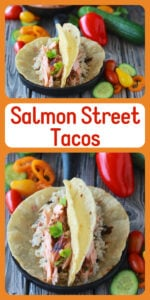 Our Salmon Street Tacos Recipe are sure to bring smiles to your dinner table! I am a huge fan of fish tacos especially in toasty tortillas with rice or shredded green cabbage! #tacorecipe #salmonrecipe #streettacos #fitnessrecipe