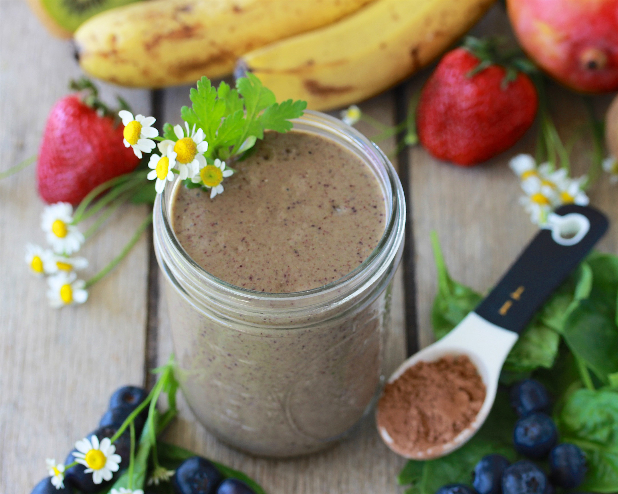 Our Chocolate Blueberry Spinach Protein Smoothie Recipe will help you get a healthy start to the new year! by cookingwithruthie.com