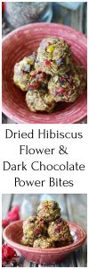 Dried Hibiscus Flower & Dark Chocolate Power Bites Recipe is a fabulous flavor combination that sure to brighten your day! by cookingwithruthie.com