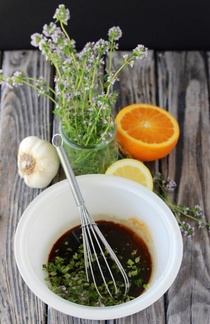 Citrus Thyme Marinade Recipe is bursting with flavor that pairs perfectly with chicken, beef, or pork! by cookingwithruthie.com